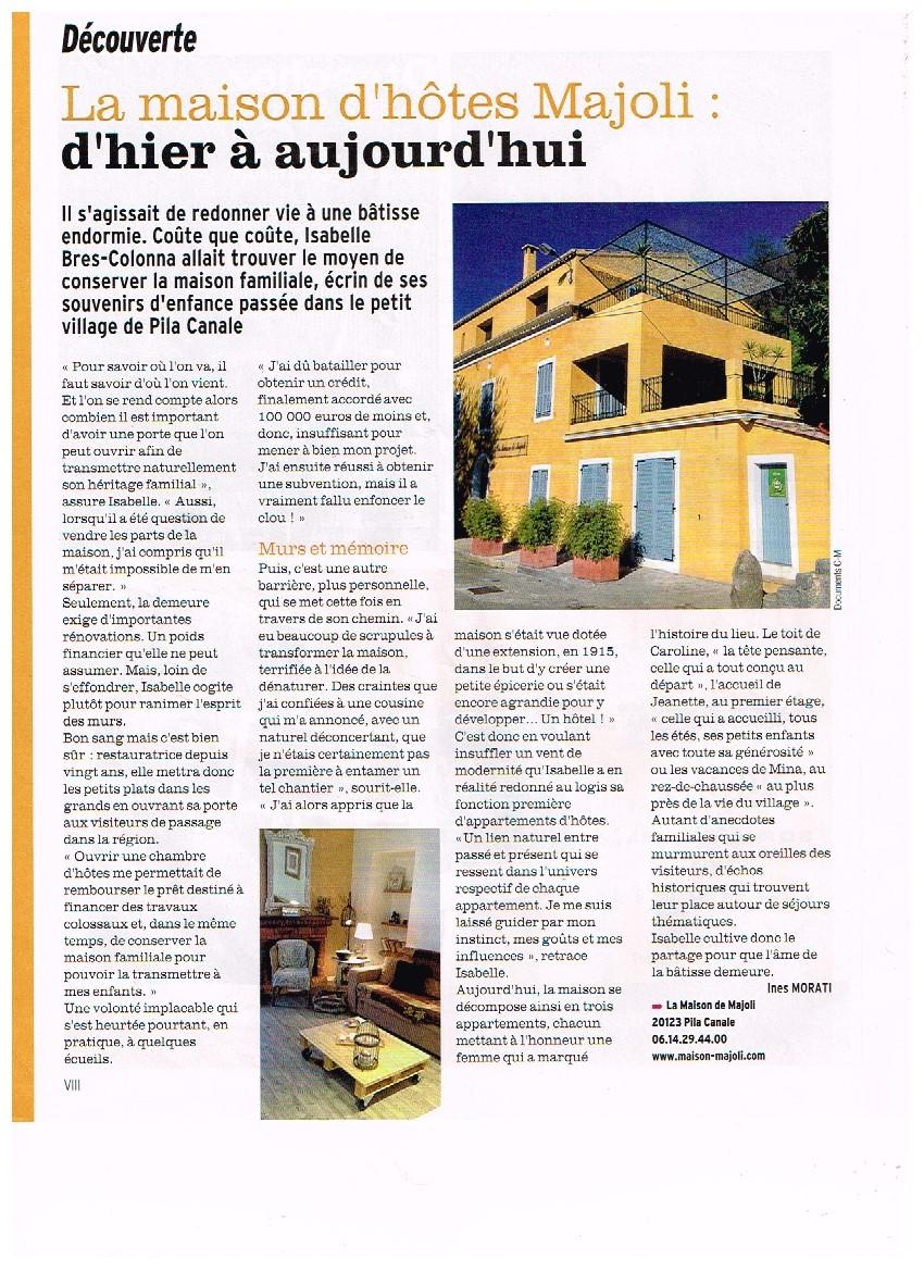 La version FEMINA du journal CORSE-MATIN offre toutes les semaines des articles de l'actualité Corse